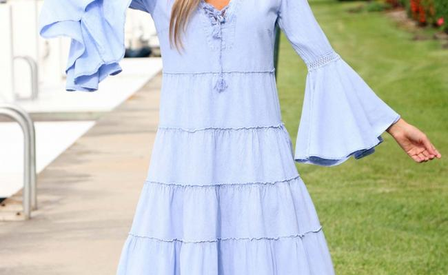 Denim Blue Maxi Dress by Lirome Boho Vintage Retro Ibiza Maxi Image 4