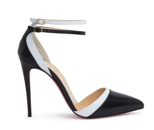 Christian Louboutin White Color Ankle Strap black Pumps