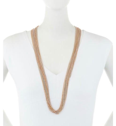 Natasha Couture Natasha Accessories Limited Multi-Strand Tricolor Chain Necklace NWT Image 2