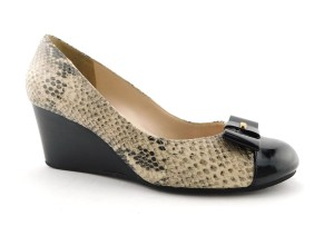 Cole Haan Elsie Pumps Logo Bow Air Round Toe Snake Wedges