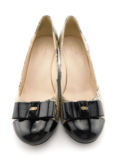 Cole Haan Elsie Pumps Logo Bow Air Round Toe Snake Wedges Image 1