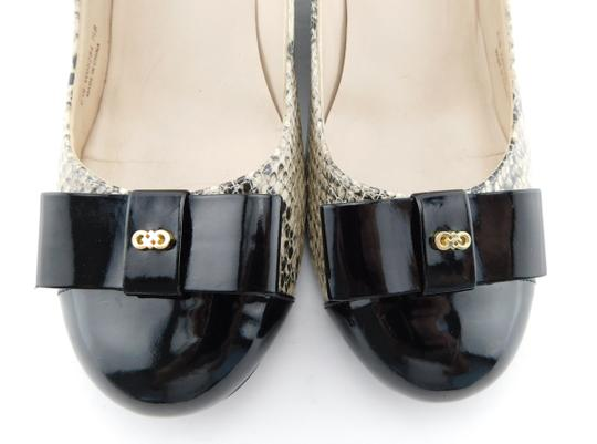 Cole Haan Elsie Pumps Logo Bow Air Round Toe Snake Wedges Image 2