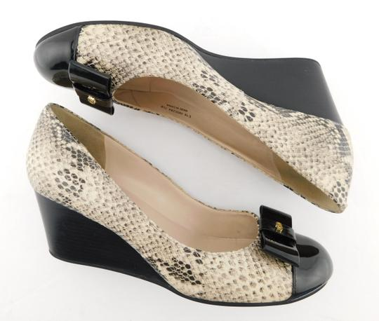 Cole Haan Elsie Pumps Logo Bow Air Round Toe Snake Wedges Image 4