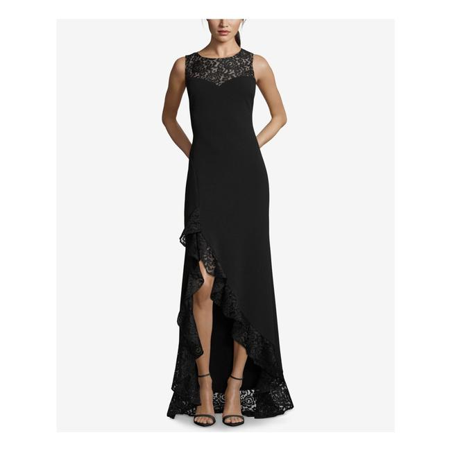 Item - Black Lace High Jewel Neck Low Ruffle Gown Long Formal Dress Size 14 (L)