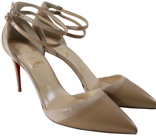Preload https://img-static.tradesy.com/item/25974062/christian-louboutin-beige-uptown-double-85mm-nude-gold-patent-suede-ankle-strap-c093-pumps-size-eu-4-0-2-540-540.jpg