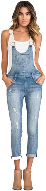 Wildfox Overalls Distressed Revolve Capri/Cropped Denim-Light Wash Image 0