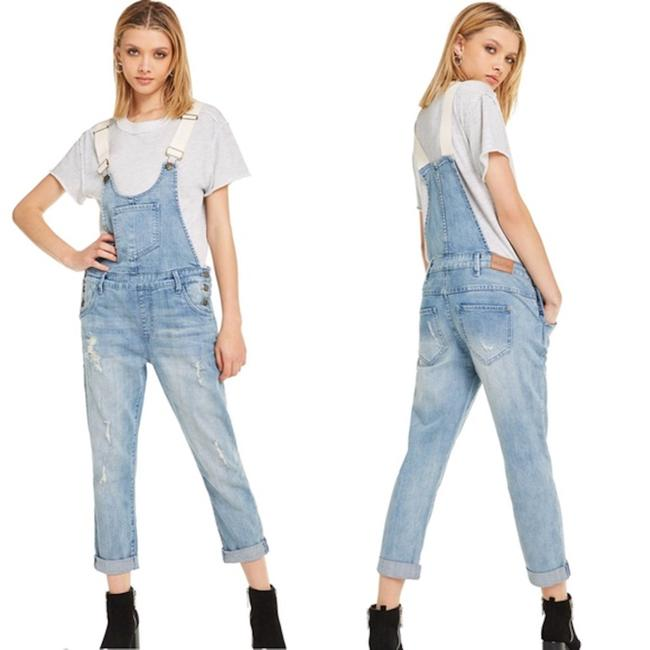Wildfox Overalls Distressed Revolve Capri/Cropped Denim-Light Wash Image 2