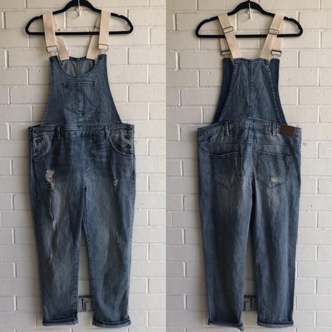 Wildfox Overalls Distressed Revolve Capri/Cropped Denim-Light Wash Image 3