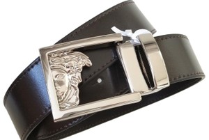 Versace NEW Versace collection sliver half face logo Buckle Leather Belt