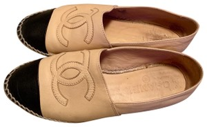 Chanel Lambskin Cc Flats Espadrilles Leather Beige Sandals
