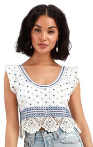 Free People Top White, Blue