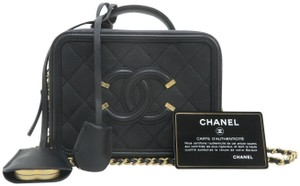 Chanel Vanity Case Caviar Quilted Satchel in Black