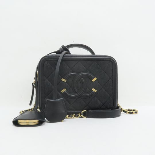 Chanel Vanity Case Caviar Quilted Satchel in Black Image 1