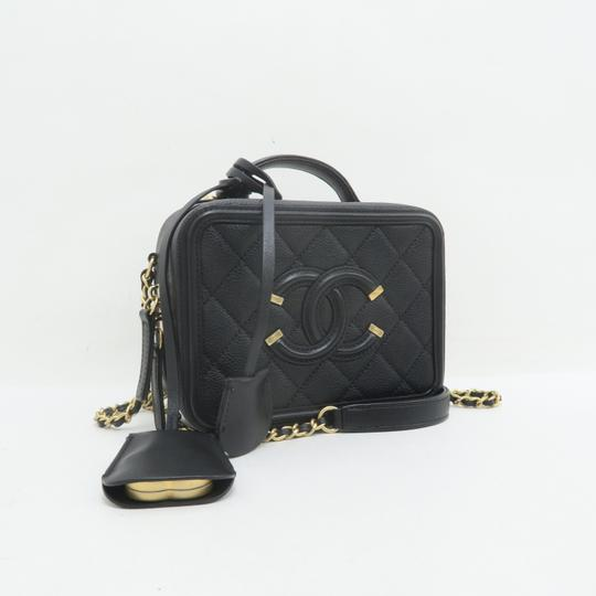 Chanel Vanity Case Caviar Quilted Satchel in Black Image 4