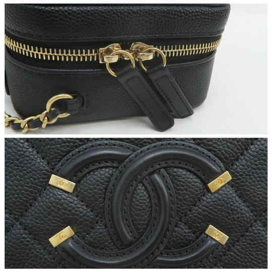 Chanel Vanity Case Caviar Quilted Satchel in Black Image 9