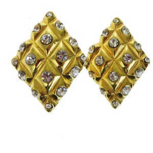 Chanel Gold Rhinestone Clip-on Gold-tone France Earrings