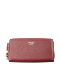Gucci Gucci 307984 Bamboo Tassel Red Leather Zippered Wallet (176508)