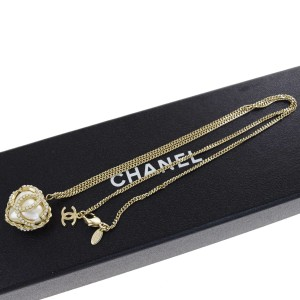 Chanel Gold Chain Imitation Pearl Pendant Chain Necklace