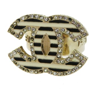 Chanel Gold Cc Logos Rhinestone Gold-tone 03a France Ring
