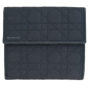 Dior Christian Dior Cannage Bifold Wallet Purse Leather Nylon Black