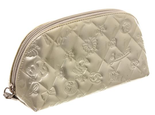 Chanel Chanel Silver Patent Leather Lucky Charms Cosmetic Pouch Bag Image 1