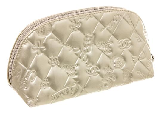 Chanel Chanel Silver Patent Leather Lucky Charms Cosmetic Pouch Bag Image 2