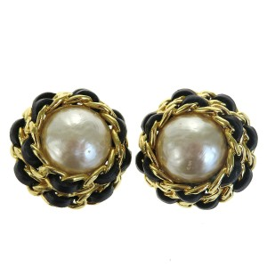 Chanel Gold Cc Imitation Pearl Leather Gold-tone Clip-on Earrings