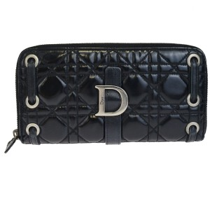 Dior Christian Dior Lady Zipper Long Wallet Purse Patent Leather Black