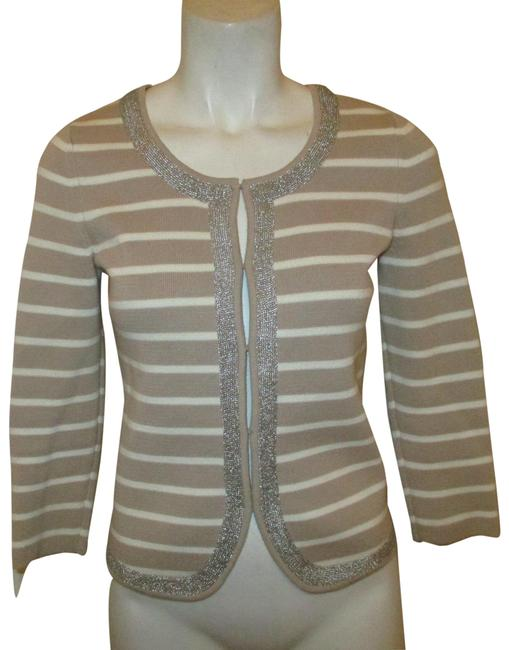 Item - Khaki & Ivory Cotton 3/4 Sleeve Strip Cardigan Size 2 (XS)