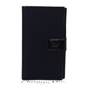 Dior Christian Dior Cannage Bifold Wallet Patent Leather Nylon Black
