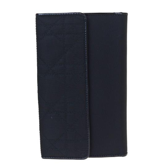 Dior Christian Dior Cannage Bifold Wallet Patent Leather Nylon Black Image 2