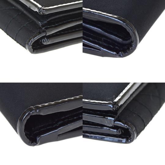 Dior Christian Dior Cannage Bifold Wallet Patent Leather Nylon Black Image 6