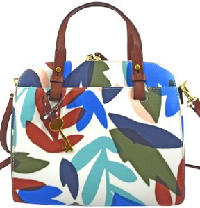 Fossil Satchel in blue white green natural