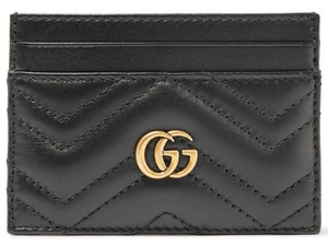 Gucci NEW GUCCI MARMONT BLACK LEATHER CARD HOLDER WALLET BAG