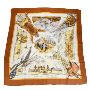 """Hermès Authentic HERMES XL JUMBO Scarf Carre """"CHASSES EXOTIQUE"""" 100% Silk"""