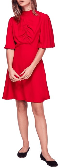 Free People Red Be My Baby Mock Neck Mini New Mid-length Short Casual Dress Size 12 (L) Free People Red Be My Baby Mock Neck Mini New Mid-length Short Casual Dress Size 12 (L) Image 1