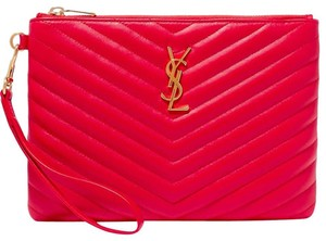 Saint Laurent Ysl Quilted Pouch Wristlet in red