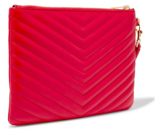 Saint Laurent Ysl Quilted Pouch Wristlet in red Image 1