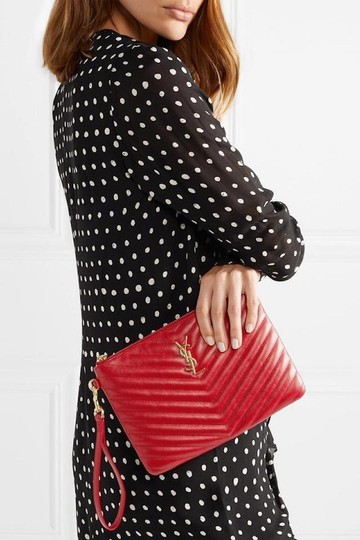 Saint Laurent Ysl Quilted Pouch Wristlet in red Image 2