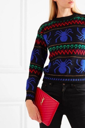 Saint Laurent Ysl Quilted Pouch Wristlet in red Image 3