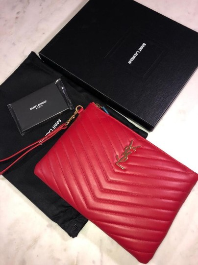 Saint Laurent Ysl Quilted Pouch Wristlet in red Image 4