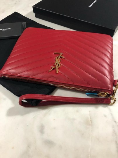 Saint Laurent Ysl Quilted Pouch Wristlet in red Image 5