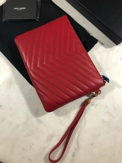 Saint Laurent Ysl Quilted Pouch Wristlet in red Image 6