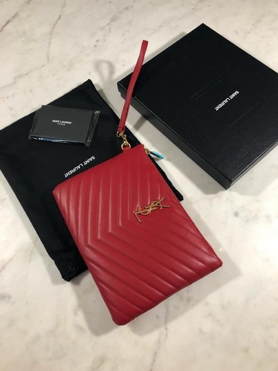 Saint Laurent Ysl Quilted Pouch Wristlet in red Image 7