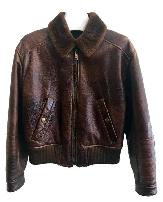 Item - Dark Brown Bomber with Shearling Jacket Size 4 (S)
