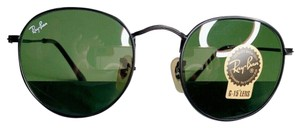 Ray-Ban Authentic Ray-Ban Round Sunglasses Matte Black Frame/ Dark Green Lens
