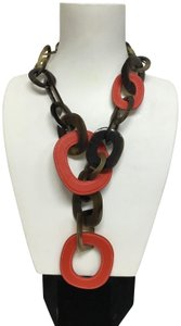 Hermès Natural lacquered buffalo horn and red leather necklace