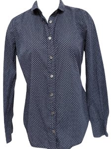J.Crew Polka Dots Perfect Fit Long Sleeve Button Down Shirt Blue & White
