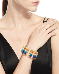 Lele Sadoughi Lele Sadoughi Multi Color Column Stackable Slider Cuff Bracelet