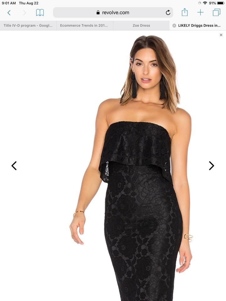Likely Black Driggs Lace Floral Ruffle Bodycon Strapless Sleeveless Holiday Cocktail Party Mid Length Night Out Dress Size 4 S 47 Off Retail